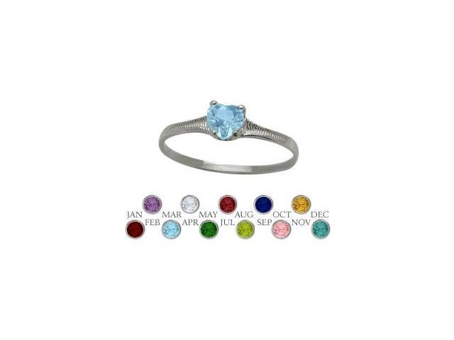 10 Karat White Gold Genuine Blue Topaz Heart Shape Gem Baby Ring - SIZE 4