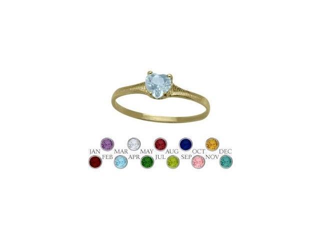14 Karat Yellow Gold Created Aquamarine Heart Shape Gem Baby Ring - SIZE 2