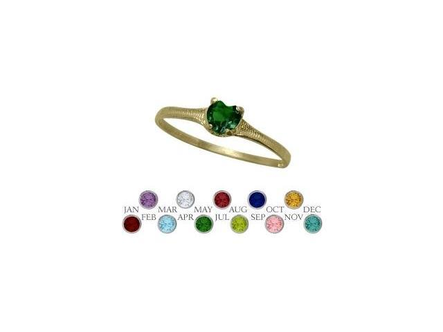 14 Karat Yellow Gold Created Emerald Heart Shape Gem Baby Ring - SIZE 2