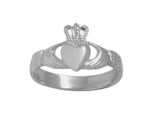 14 Karat White Gold Celtic Claddagh Ring - 8.5