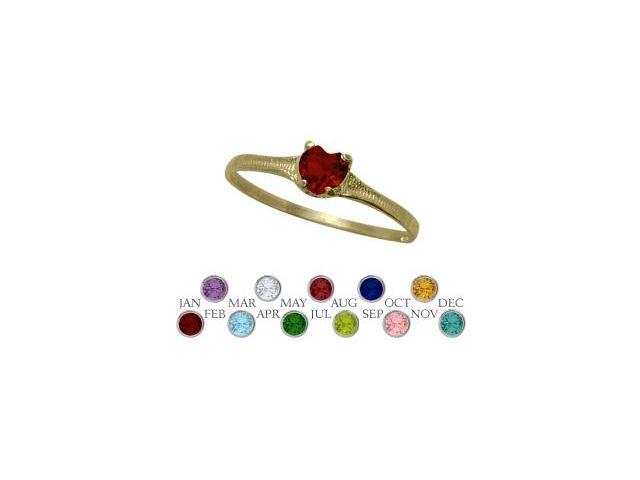 14 Karat Yellow Gold Genuine Garnet Heart Shape Gem Baby Ring - SIZE 3