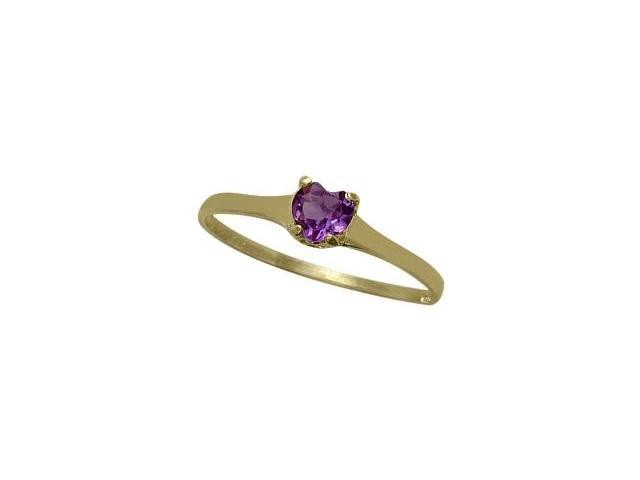 14 Karat Yellow Gold Genuine Amethyst Heart Solitaire Baby Ring - SIZE 4