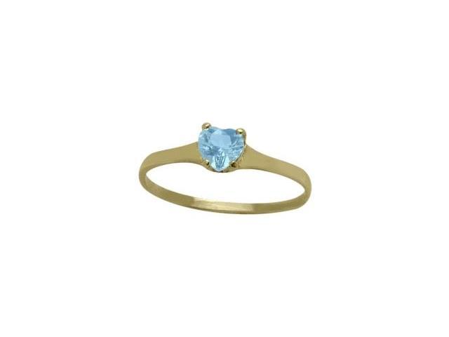 14 Karat Yellow Gold Genuine Blue Topaz Heart Solitaire Baby Ring - SIZE 2