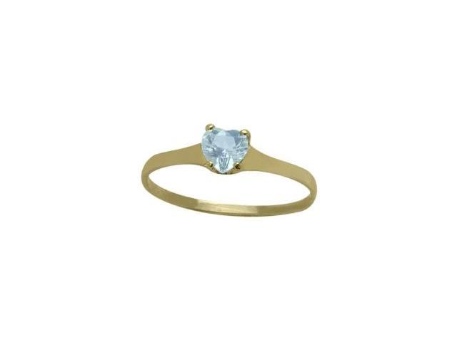 14 Karat Yellow Gold Created Aquamarine Heart Solitaire Baby Ring - SIZE 2