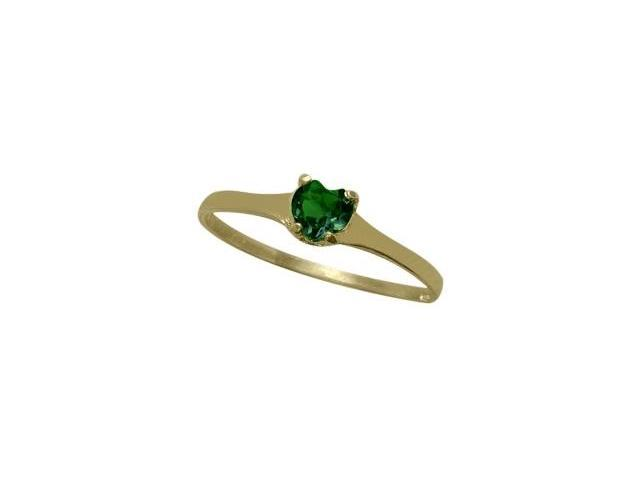14 Karat Yellow Gold Created Emerald Heart Solitaire Baby Ring - SIZE 4