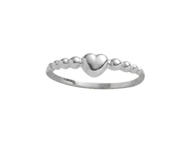 Genuine Sterling Silver Bead Style Heart Baby Ring - SIZE 2