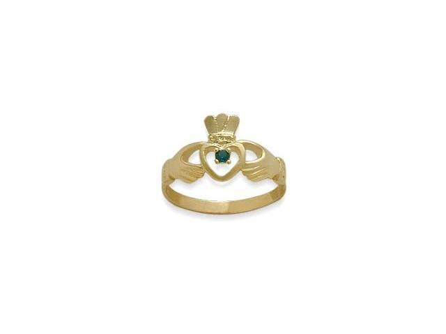 Ladies 10 Karat Yellow Gold Emerald Claddagh Ring - 6