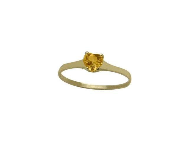 14 Karat Yellow Gold Genuine Citrine Heart Solitaire Baby Ring - SIZE 2