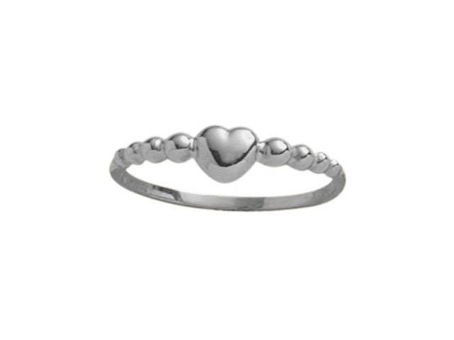 10 Karat White Gold Bead Style Heart Baby Ring - SIZE 2