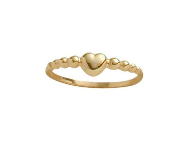 14 Karat Yellow Gold Bead Style Heart Baby Ring - SIZE 4