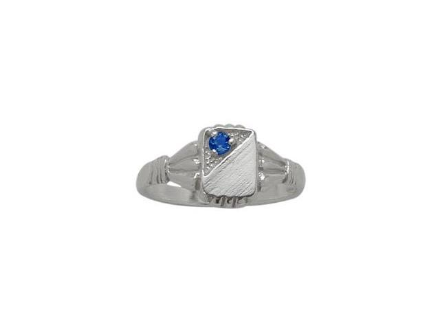 Genuine Sterling Silver Created Sapphire Rectangular Gemstone Baby Ring - SIZE 3