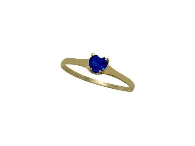 14 Karat Yellow Gold Created Sapphire Heart Solitaire Baby Ring - SIZE 2