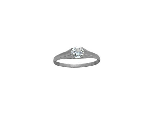 14 Karat White Gold White Topaz Baby Gemstone Ring - 4