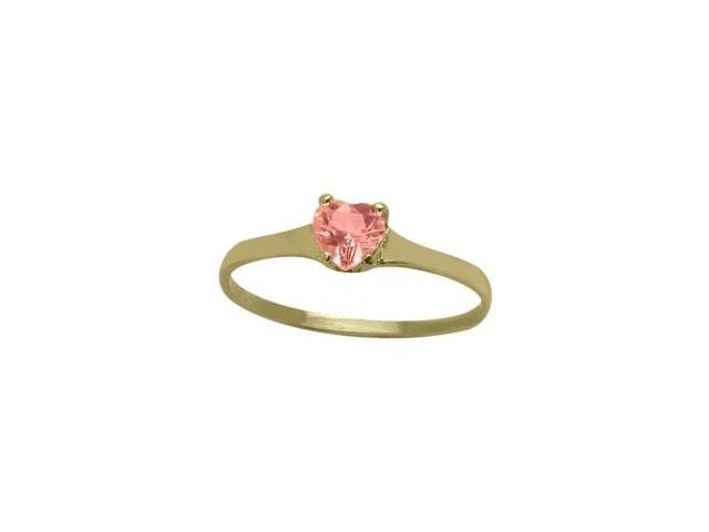 14 Karat Yellow Gold Created Tourmaline Heart Solitaire Baby Ring - SIZE 4