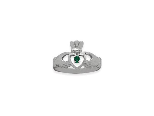Ladies 10 Karat White Gold Emerald Claddagh Ring - 5