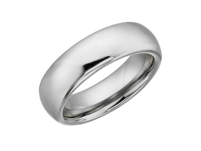 7mm Half Round Tungsten Carbide Comfort Fit Ring - 10
