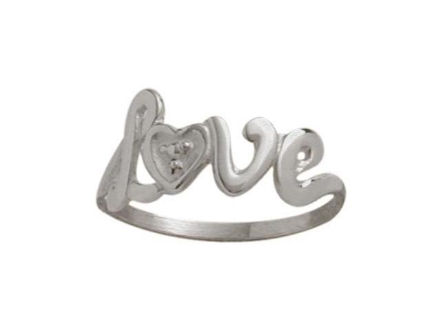 10 Karat White Gold 'Love' Baby Ring - SIZE 2