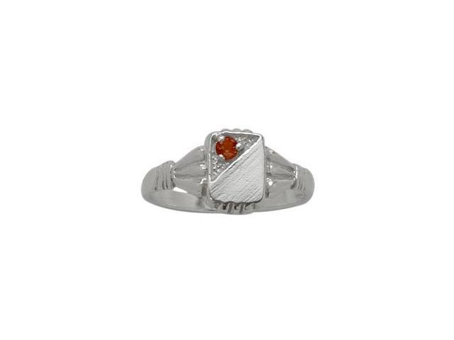 Genuine Sterling Silver Genuine Garnet Rectangular Gemstone Baby Ring - SIZE 2