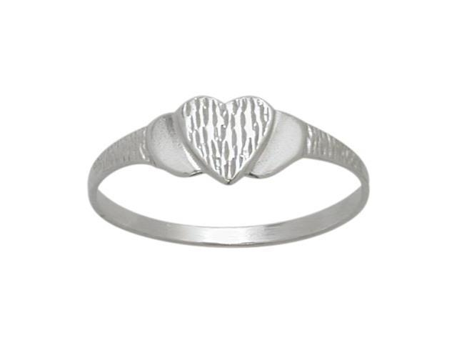 Genuine Sterling Silver Heart Baby Ring - SIZE 2