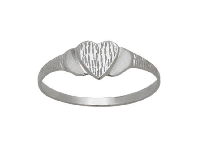 10 Karat White Gold Heart Baby Ring - SIZE 3