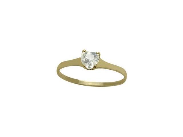 14 Karat Yellow Gold Genuine White Topaz Heart Solitaire Baby Ring - SIZE 2