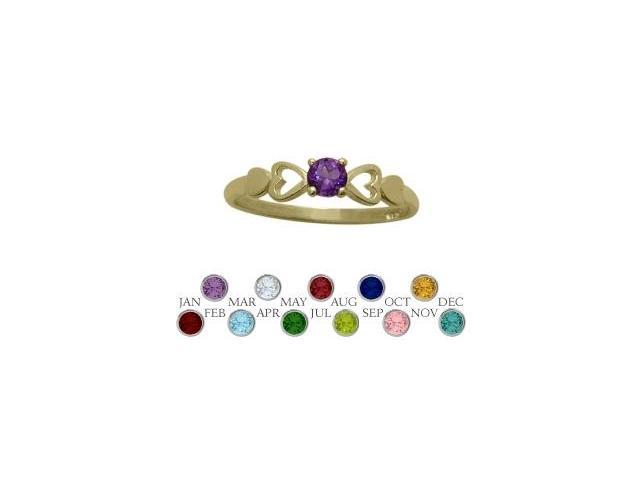 14 Karat Yellow Gold Genuine Amethyst  Round Shape Baby Ring - SIZE 4