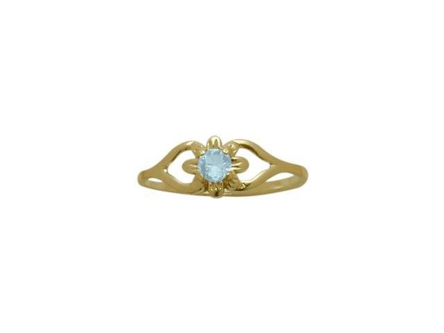 14 Karat Yellow Gold Created Aquamarine Flower Solitaire Baby Ring - SIZE 3