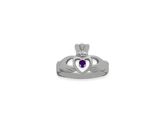 Ladies 10 Karat White Gold Amethyst Claddagh Ring - 5.25