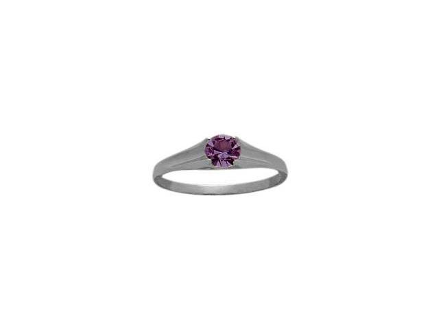 Genuine Sterling Silver Genuine Amethyst Solitaire Baby Ring - SIZE 2