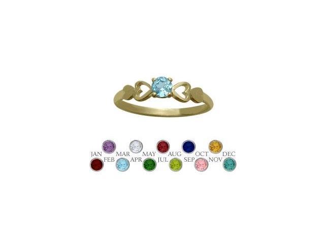 14 Karat Yellow Gold Genuine Blue Topaz  Round Shape Baby Ring - SIZE 4