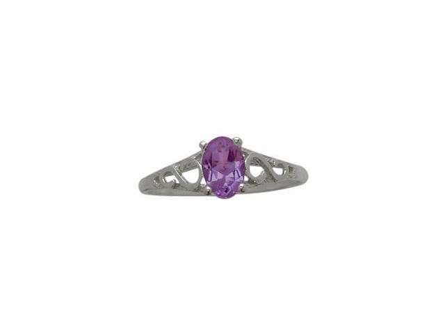 10 Karat White Gold Genuine Amethyst Oval Gemstone Baby Ring - SIZE 4