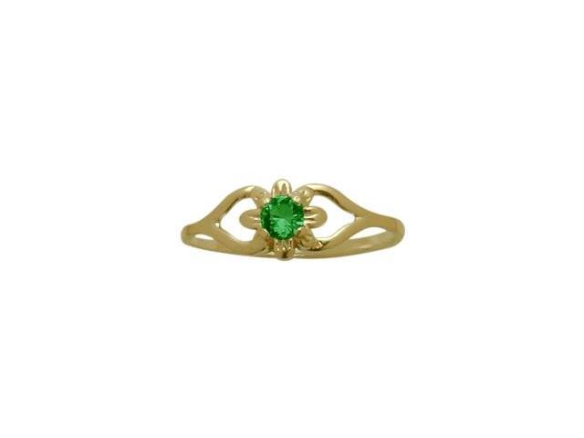 14 Karat Yellow Gold Created Emerald Flower Solitaire Baby Ring - SIZE 4