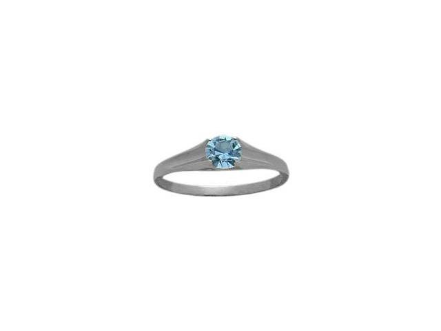 Genuine Sterling Silver Genuine Blue Topaz Solitaire Baby Ring - SIZE 2