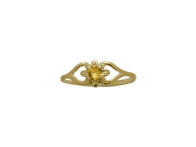 14 Karat Yellow Gold Genuine Citrine Flower Solitaire Baby Ring - SIZE 4