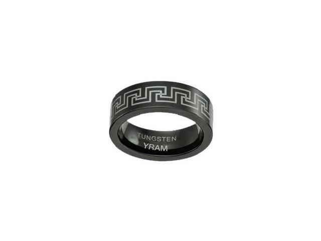 Black Tungsten Greek Design 7mm Ring - Size 6.5
