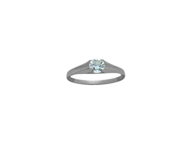 Genuine Sterling Silver Created Aquamarine Solitaire Baby Ring - SIZE 2