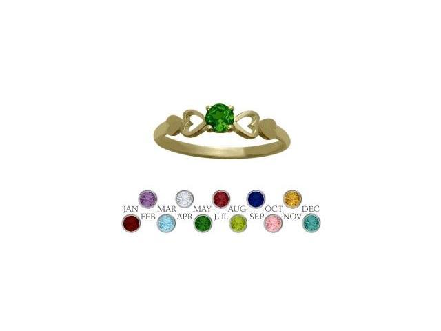 14 Karat Yellow Gold Created Emerald  Round Shape Baby Ring - SIZE 2