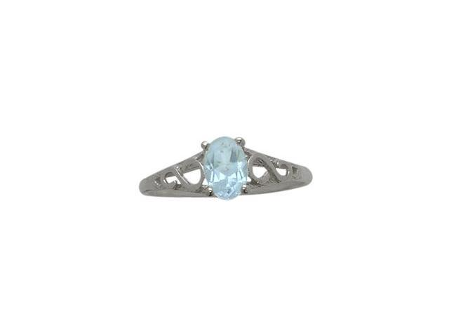 Genuine Sterling Silver Created Aquamarine Oval Gemstone Baby Ring - SIZE 2