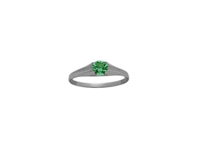 Genuine Sterling Silver Created Emerald Solitaire Baby Ring - SIZE 3