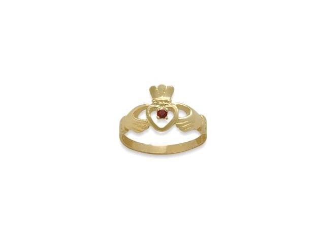 Ladies 10 Karat Yellow Gold Ruby Claddagh Ring - 5