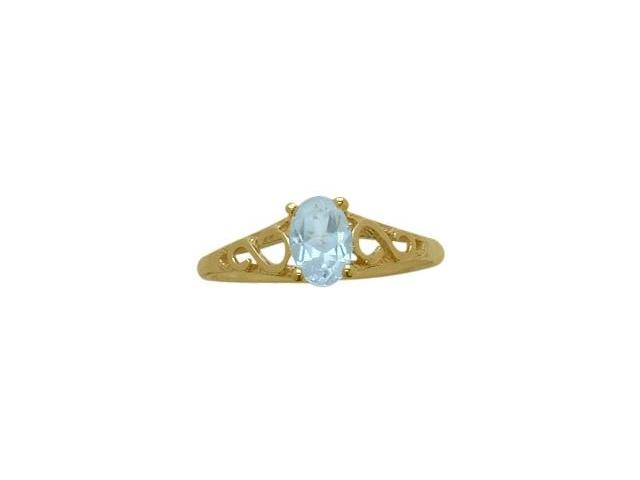 14 Karat Yellow Gold Created Aquamarine Oval Gemstone Baby Ring - SIZE 4