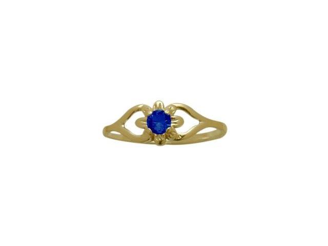 14 Karat Yellow Gold Created Sapphire Flower Solitaire Baby Ring - SIZE 3