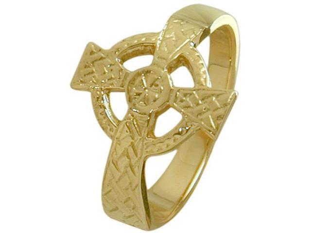 Ladies 14 Karat Yellow Gold Religious Celtic Cross Ring - 7