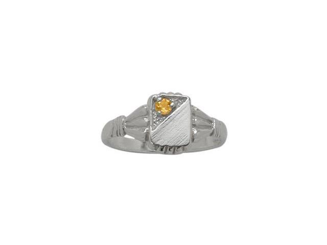 10 Karat White Gold Genuine Citrine Rectangular Gemstone Baby Ring - SIZE 2