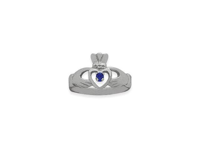 Ladies 10 Karat White Gold Sapphire Claddagh Ring - 7.25