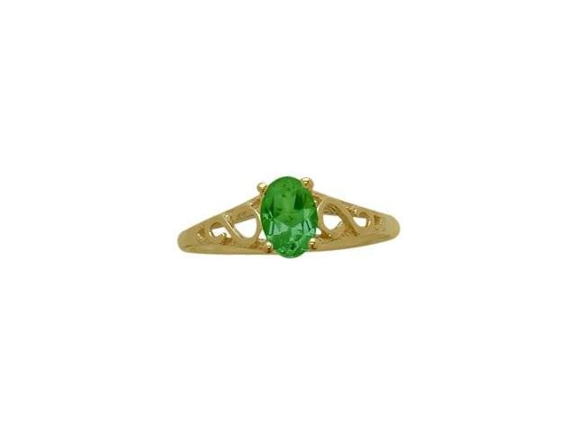 14 Karat Yellow Gold Created Emerald Oval Gemstone Baby Ring - SIZE 2