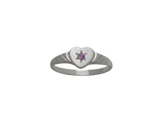 10 Karat White Gold Genuine Amethyst Heart Solitaire Baby Ring - SIZE 4