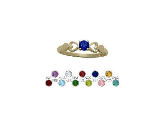 14 Karat Yellow Gold Created Sapphire  Round Shape Baby Ring - SIZE 4