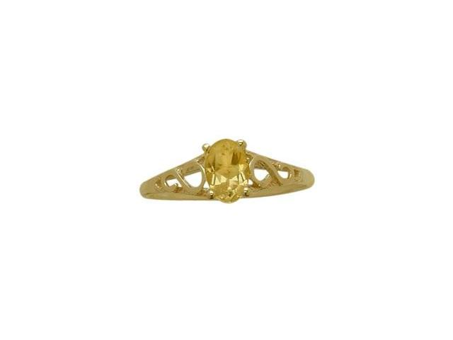 14 Karat Yellow Gold Genuine Citrine Oval Gemstone Baby Ring - SIZE 4