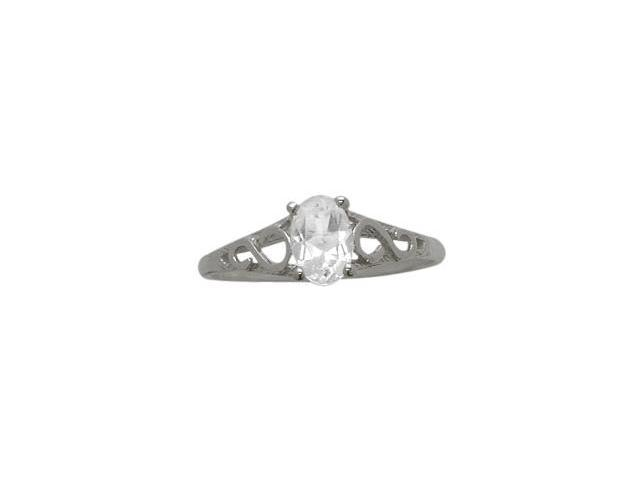 Genuine Sterling Silver Genuine White Topaz Oval Gemstone Baby Ring - SIZE 2